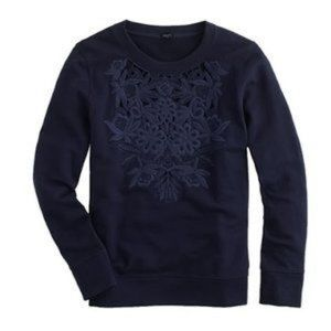 J. Crew embroidered floral cutout crew sweatshirt